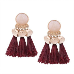 Vintage Earrings Coin Drop Tassel. - Wine Red