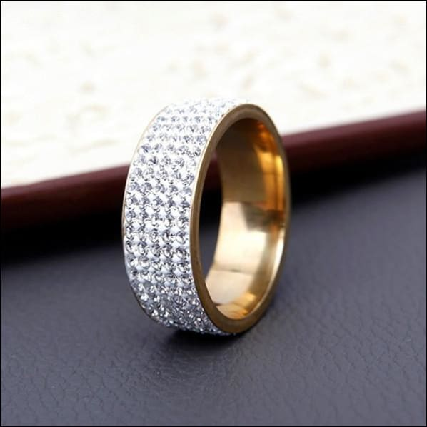 Wedding Ring Clear Rhinestone Polished Stainless Steel. - 7 / Gold