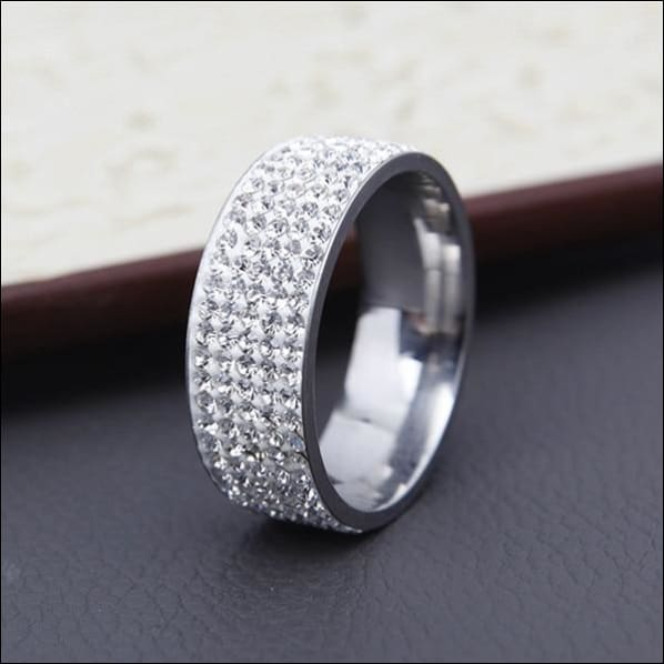 Wedding Ring Clear Rhinestone Polished Stainless Steel. - 7 / Silver