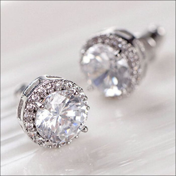 Zircon Stud Earrings Luxurious Crystal Silver Plated.