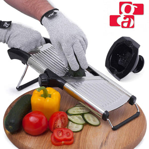GA Mandoline Slicer with Cut-Resistant Gloves and Blade Guard – Adjustable Mandolin Vegetable Slicer and French Fry Cutter, Food Slicer, Vegetable Julienne – Thick Sharp Stainless Steel Blades