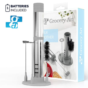 GA Electric Milk Frother Set 3-in 1 – Handheld Battery Operated Electric Foam Maker – ‎Mini Blender with 2 Whisks and a Brush – Milk Foamer, Stainless Steel Mixer For ‎Coffee, Frappe, Cappuccino