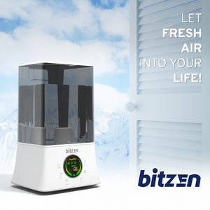 Bitzen Ultrasonic Cool Mist Single Room Humidifier and Essential Oil Difuser – 4.5L Best for Large Bedroom, Office, Gym, Home, Baby – Plastic, White, Auto Shut-off