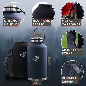 Beer Growler and Water Bottle 64 oz - Insulated Stainless Steel Vacuum Thermos