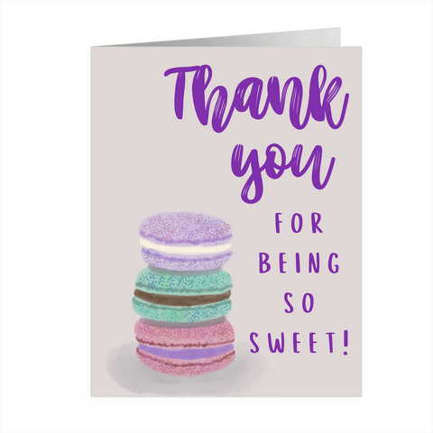 Thank You For Being So Sweet Macaron Notecards