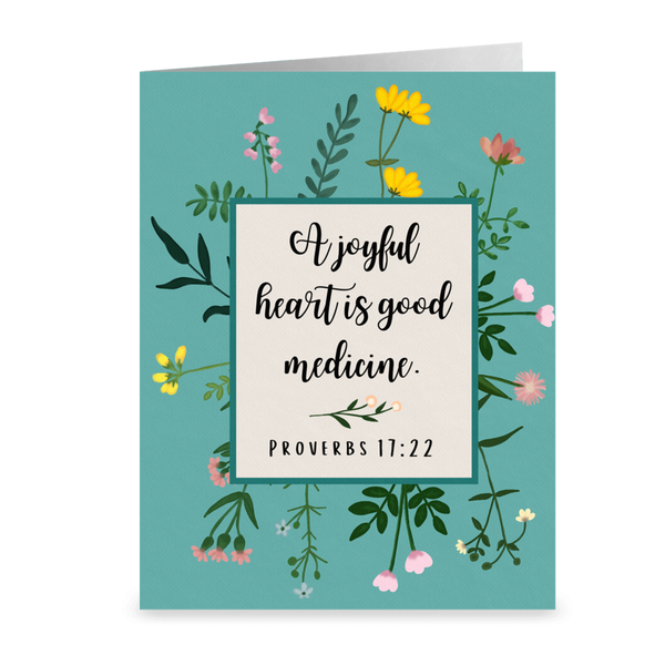 """A Joyful Heart Is Good Medicine"" Note Cards- Single or Pack of 5"