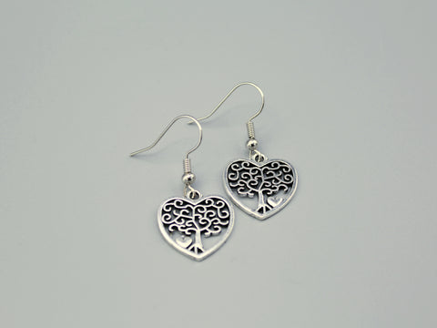 Tree in a Heart Earrings