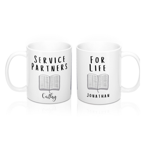 Service Partners For Life- Personalized Couples Mug Set