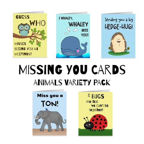 Missing You Notecards- Animals Variety Pack