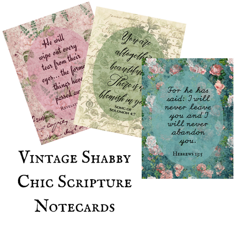 Vintage Shabby Chic Scripture Notecards