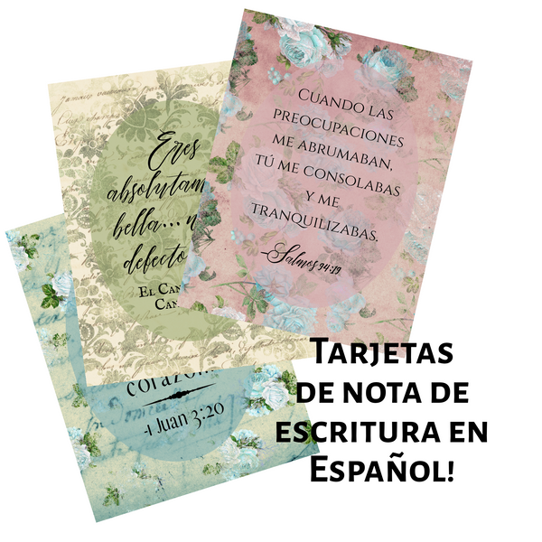 Vintage Shabby Chic Scripture Notecards-Spanish