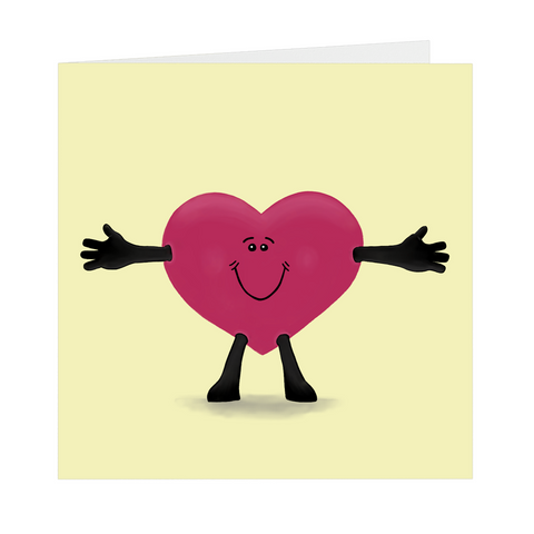 Open Your Heart Wide Square Greeting Card, Single or Pack of 5