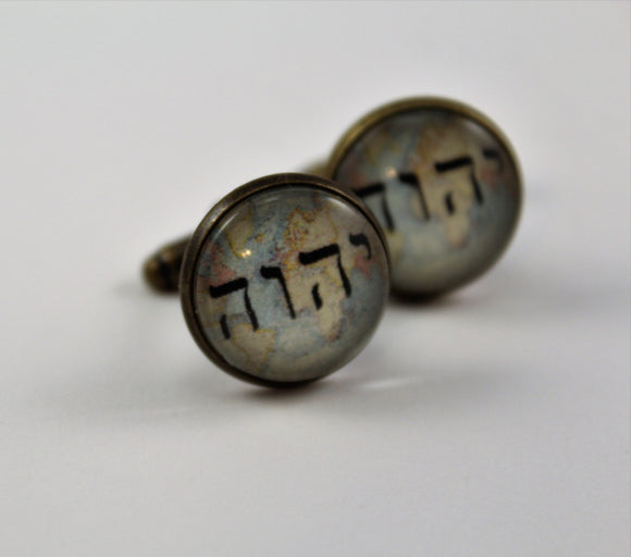 Antique Bronze Cuff Links Tetragrammaton on Vintage Map Background