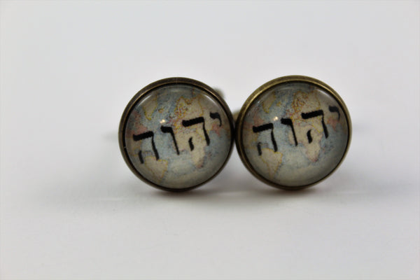 Antique Bronze or Shiny Silver Cuff Links Tetragrammaton on Vintage Map Background