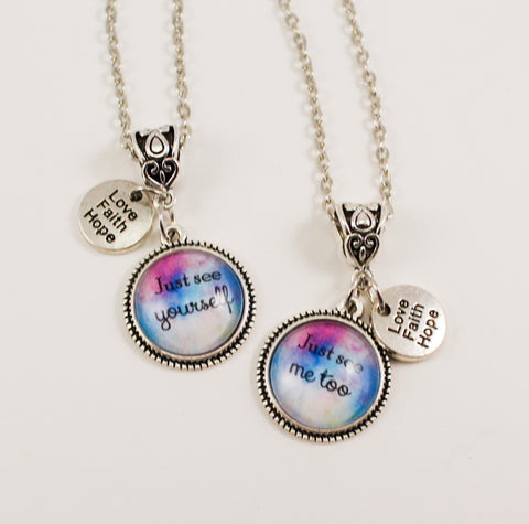 Just See Yourself, Just See Me Too Best Friends Necklace Set