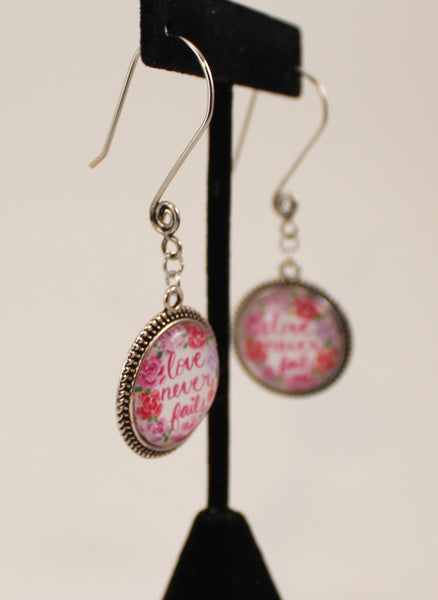 Love Never Fails Watercolor Dangle Earrings