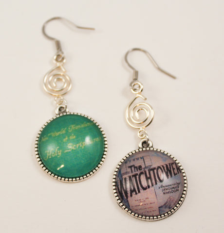 Retro JW Literature Mismatch Dangle Earrings