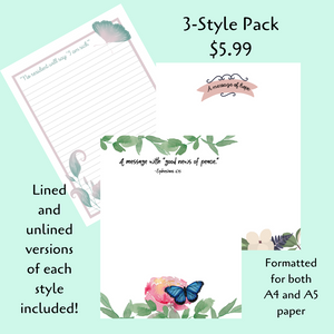 PRINTABLE Letter Writing Stationery Pack #1