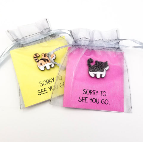 Sorry To See You Go EncourageBit with Enamel Kitty Pin