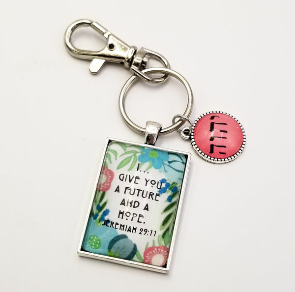 """A Future and a Hope"" Hand Drawn Floral Key Ring with Tetragrammaton Charm"