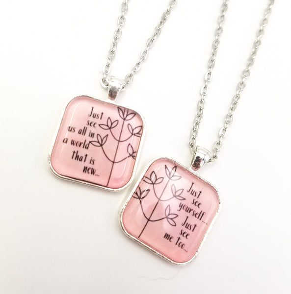 """Just See Yourself, Just See Me Too"" Best Friends Necklace Set"