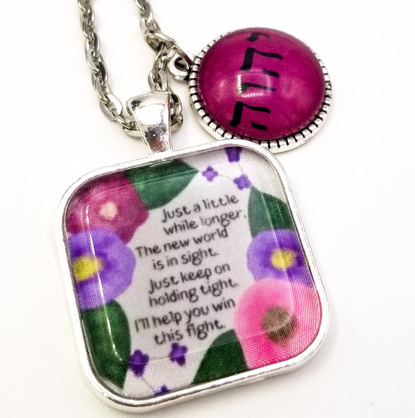 """I'll Help You Win This Fight"" Watercolor Pendant with Tetragrammaton Charm"