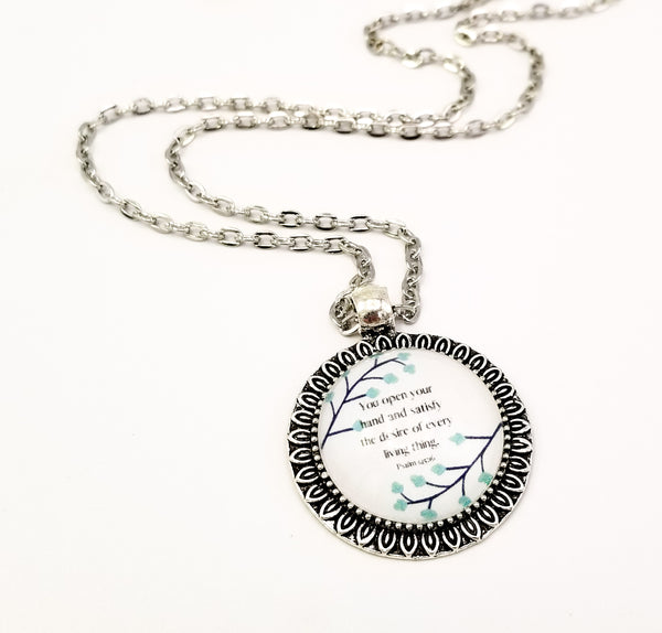 """You Satisfy the Desire of Every Living Thing"" Petal-Edge Round Pendant Necklace"
