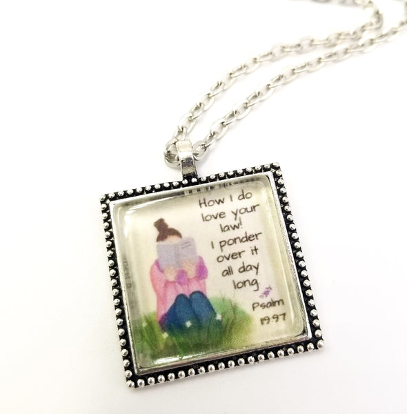 """How I Do Love Your Law!"" Watercolor Art Pendant"