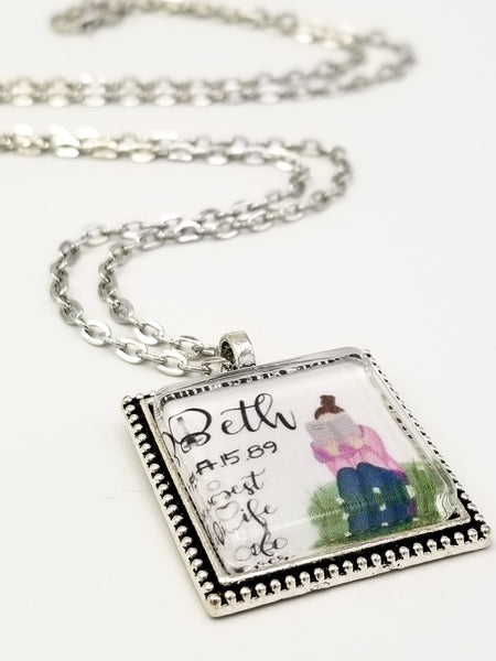 Baptism Keepsake Necklace- Watercolor Girl Reading Bible, Personalized