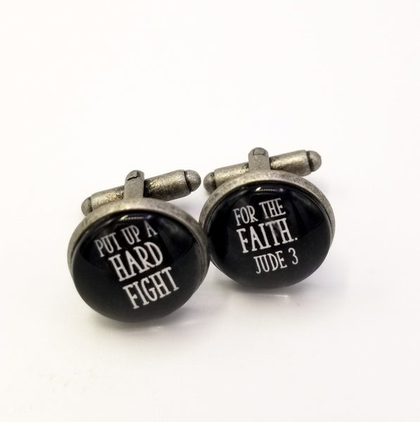 Put Up a Hard Fight For the Faith- Antique Silver Cufflinks