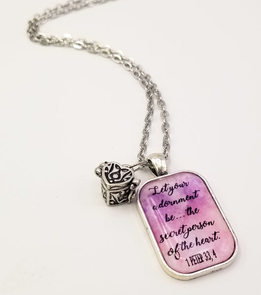 """Secret Person of the Heart"" Pendant With Secret Message Box Charm"
