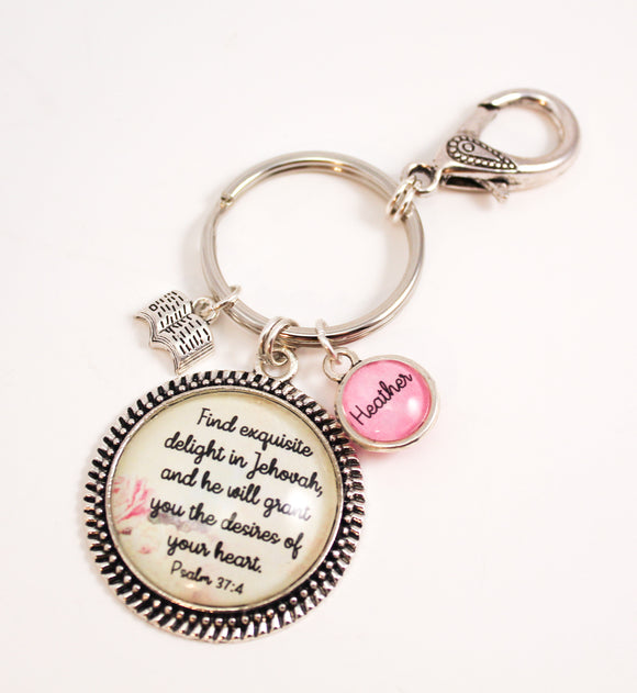 Antique Rose Favorite Scripture Key Ring With Swivel Clip, Personalized For You