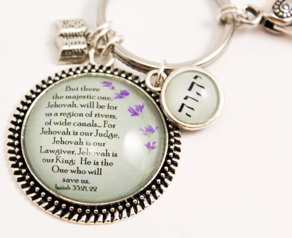 Sage/Lavender Favorite Scripture Key Ring with Swivel Clip