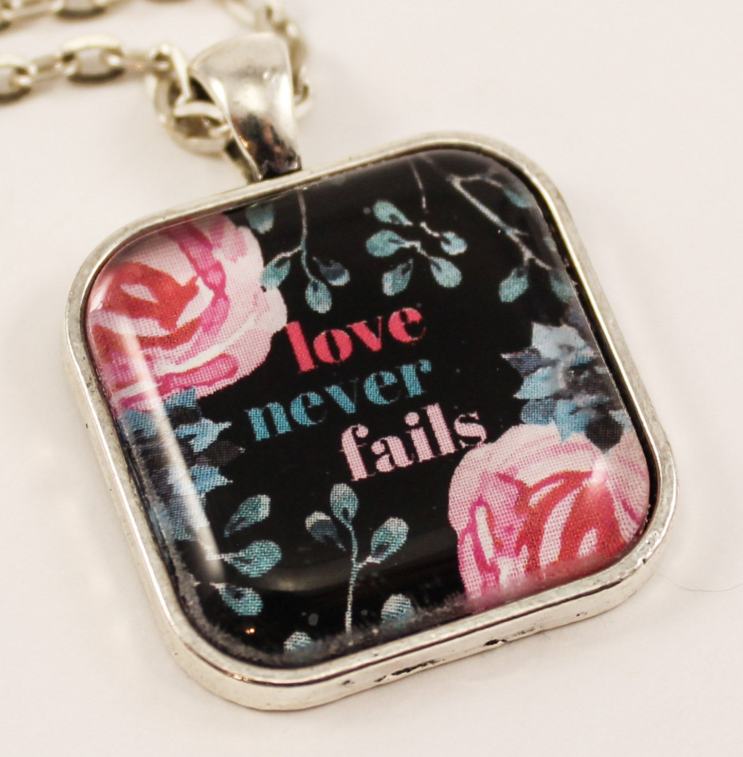 Love Never Fails Pendant, Pink Roses on Black