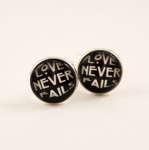 Love Never Fails Cuff Links Black Watercolor