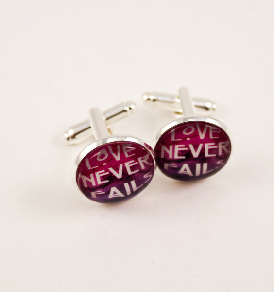 Love Never Fails Cuff Links Magenta Watercolor