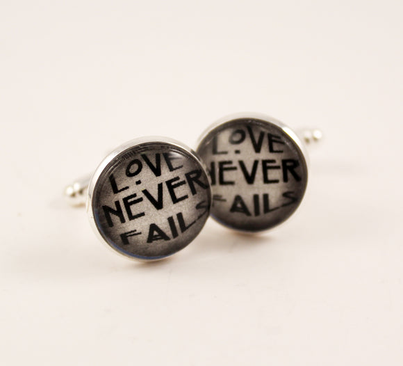 Love Never Fails Cuff Links-Grey Watercolor