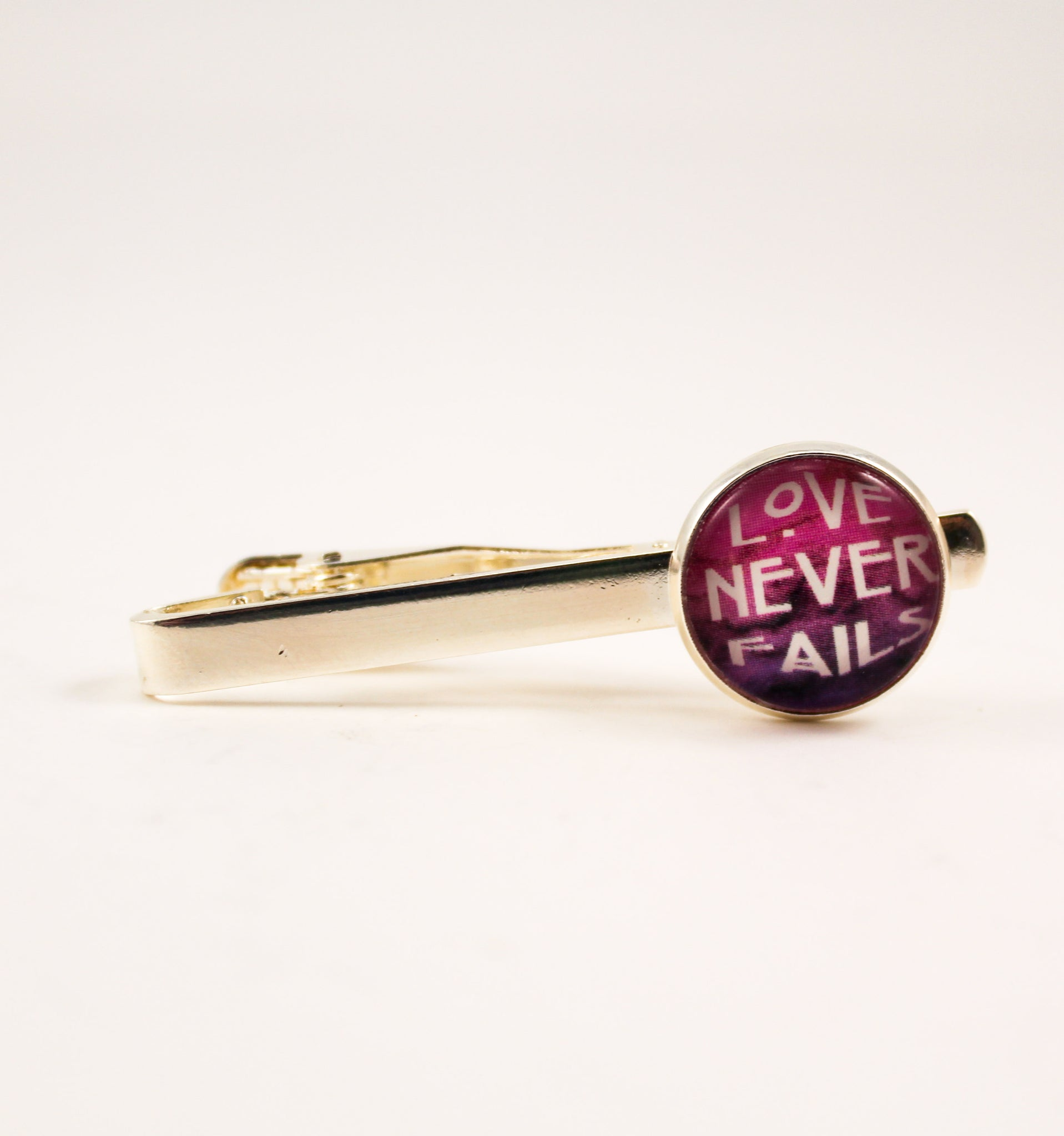 Love Never Fails Tie Bar/Tie Clip, Magenta