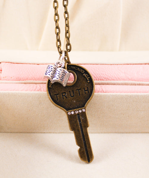 """Your Word Is Truth"" Two-tone Metal Key Necklace"