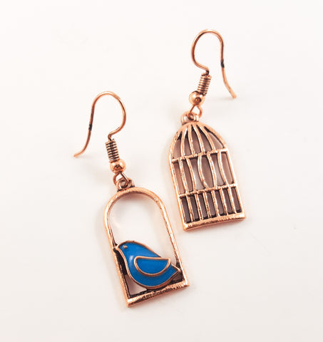 Mismatch Bird Cage Earrings in Antique Copper