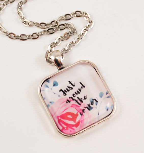 Just Around the Corner Square Necklace, Pink Roses