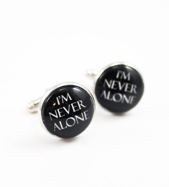 I'm Never Alone Tie Tack, Cuff Links or Set- Black