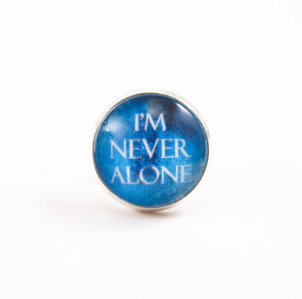 I'm Never Alone Tie Tack, Cuff Links or Set- Teal Watercolor