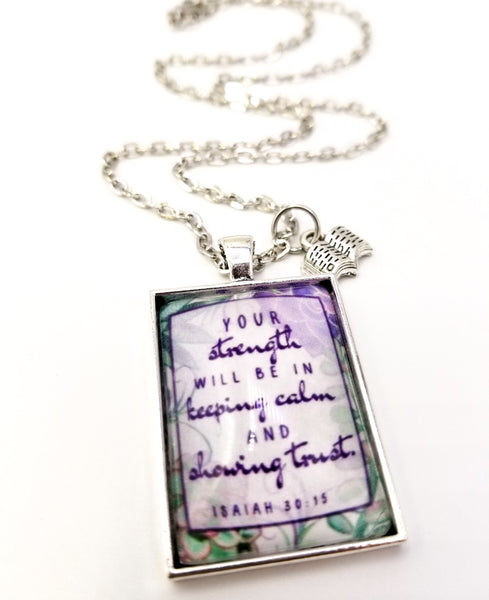 """Your Strength"" Hand Drawn Floral Necklace"