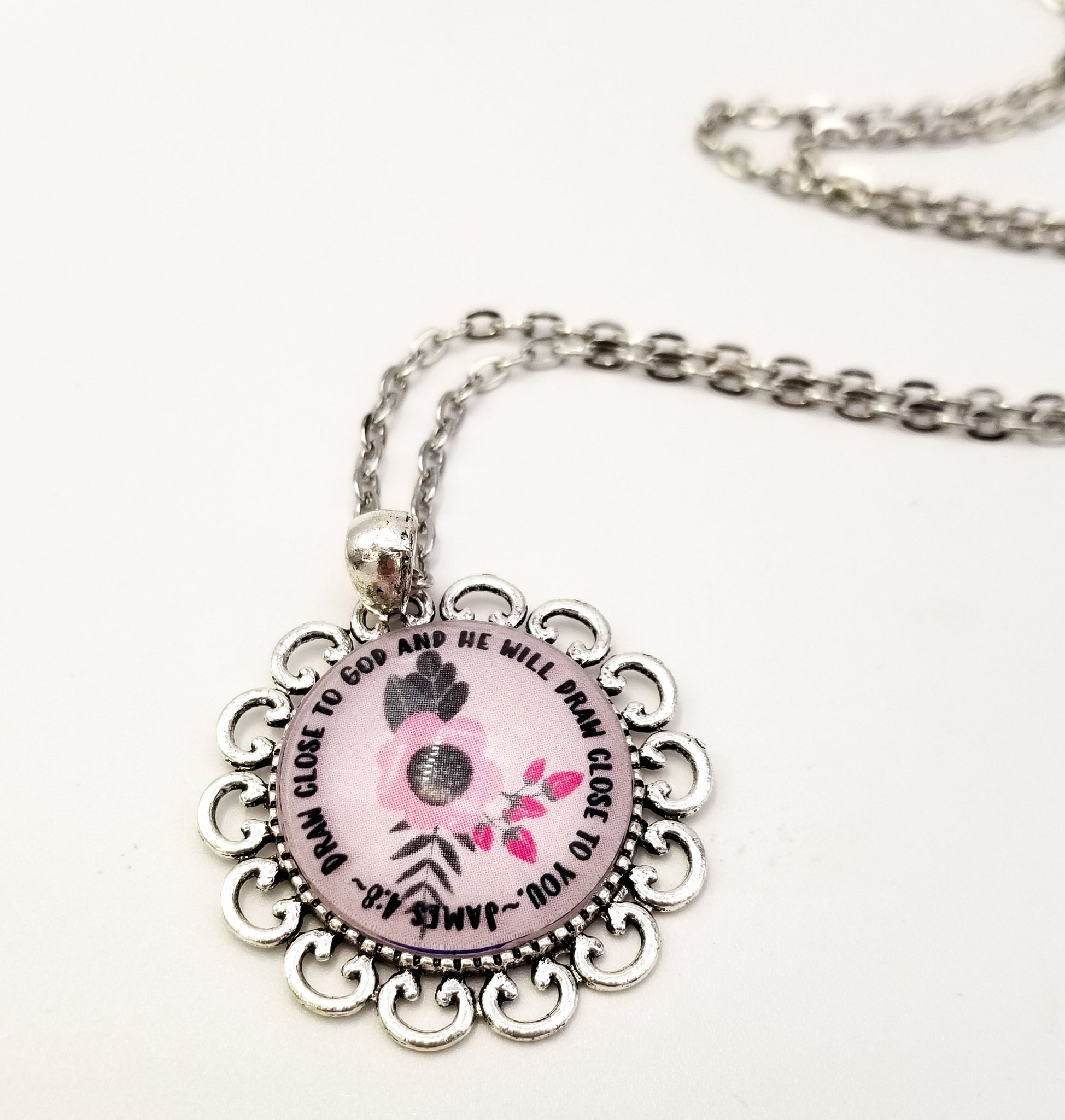 Draw Close To God- Circle Text Pendant with Original Flower Art