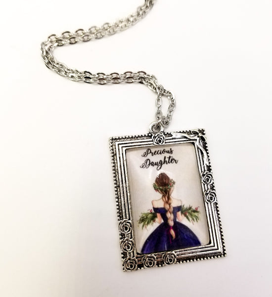 Precious Daughter Customizeable Framed Art Necklace