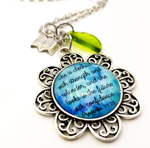 Strength, Splendor and Confidence Flower Necklace- Antique Silver with Teal Background