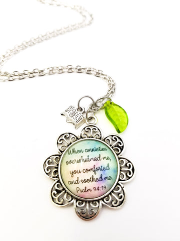 You Comforted and Soothed Me Flower Necklace- Antique Silver with Pastel Background
