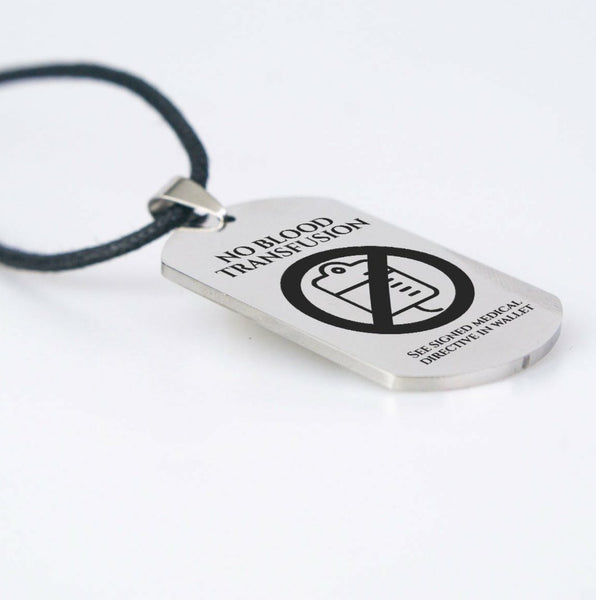 No Blood Engraved Stainless Steel Dog Tag Pendant