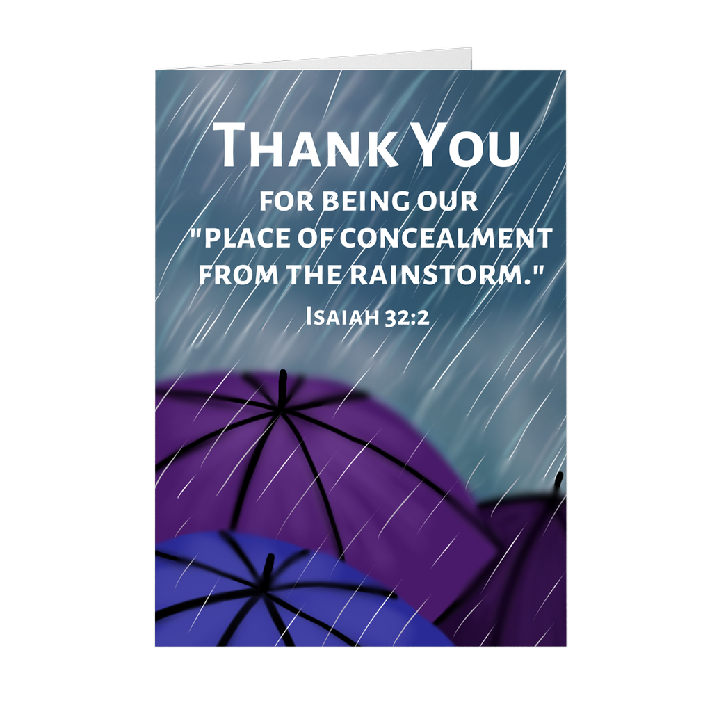 """Concealment From the Rainstorm"" Thank You Card For Elders"